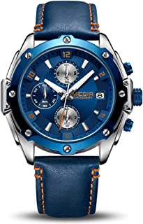 MEGIR Men Business Analogue Quartz Watch with Fashion Leather Strap Chronograph Luminous Auto Calendar for Sport & Work 2074