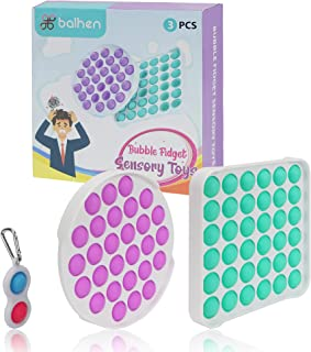 balhen Push Pop Bubble، Simple Dimple Fidget Popper - اضطراب غیرسمی و رضایت بخش ، اسباب بازی حسی برای کاهش استرس برای کودکان و بزرگسالان ، بسته 3