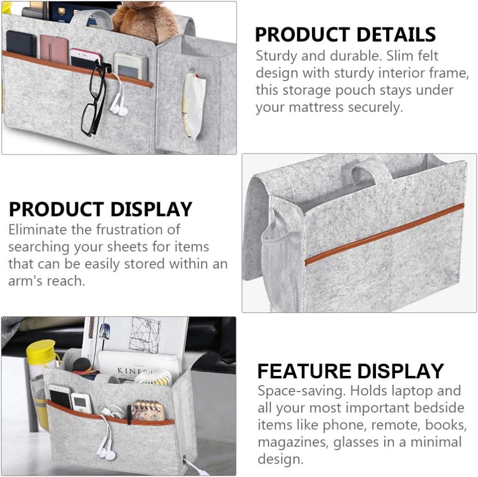 Hemoton Bed Felt Caddy Large Capacity Bedside Hanging Organizer Storage Pocket Laptop Books Tablets Sundries Pouch for Home Dorm Bedroom Dark Grey