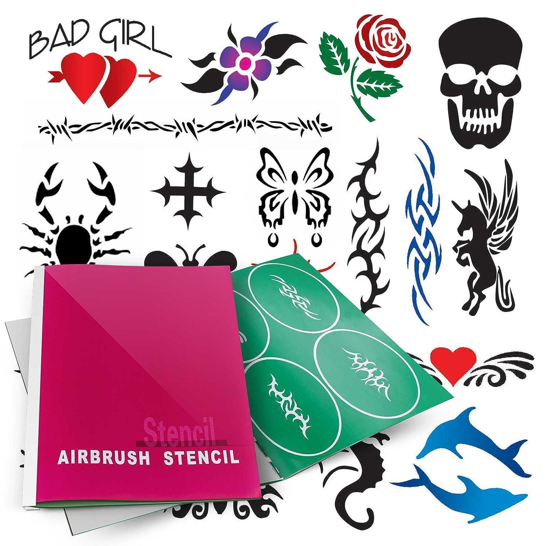 PointZero Temporary Tattoo Dedication Airbrush Stencils 20 - Designs Popular overseas Mini-B