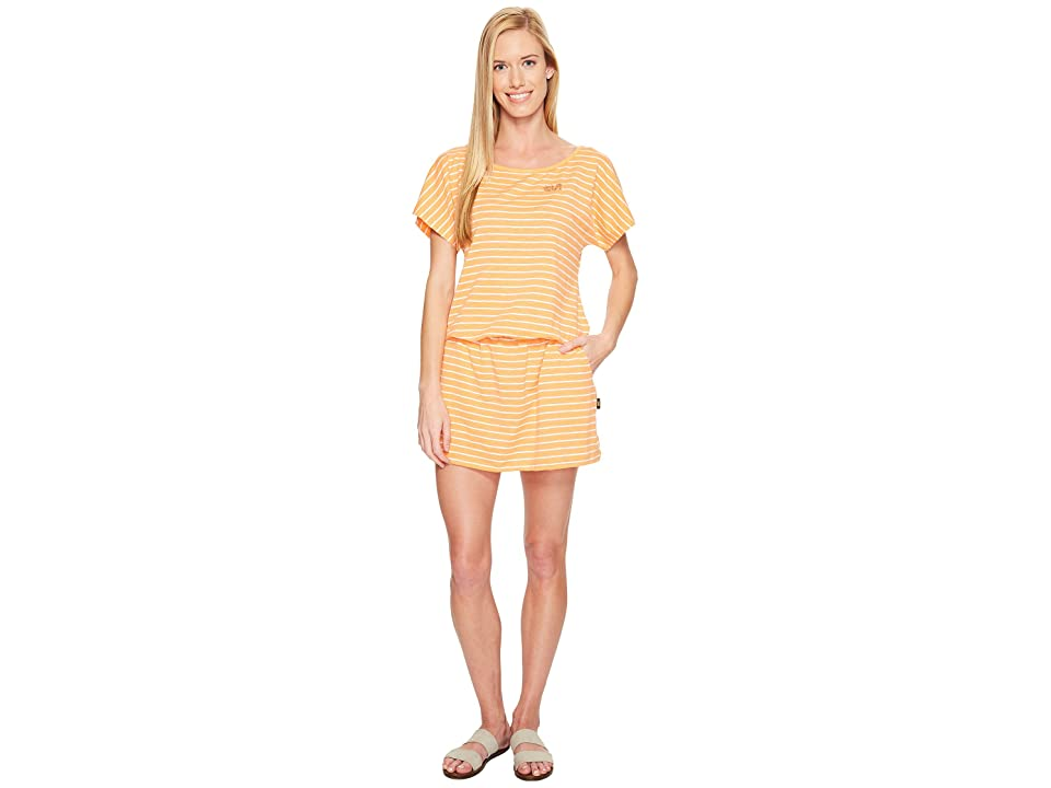 Jack Wolfskin Travel Striped Dress (Papaya Stripes) Women
