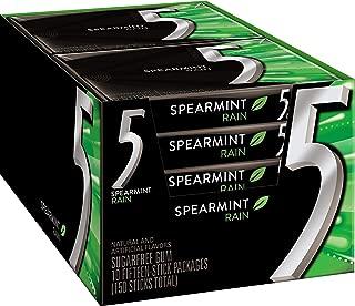 5 Gum Sugar Free Gum, RainSpearmint, 15 Piece Pack (10 Packs) (3 Pack (10 Packs))