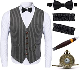 1920s Adult Men Gangster Gatsby Costume Stripe Vest Accessories Set - Armbands, Pre Tied Bow Tie, Toy Fake Cigar, Vintage Pocket Watch (Large, Grey)