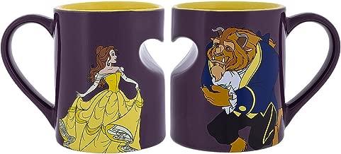 Disney Parks Princess Belle Beauty and Beast Romantic Heart Mug Set of 2