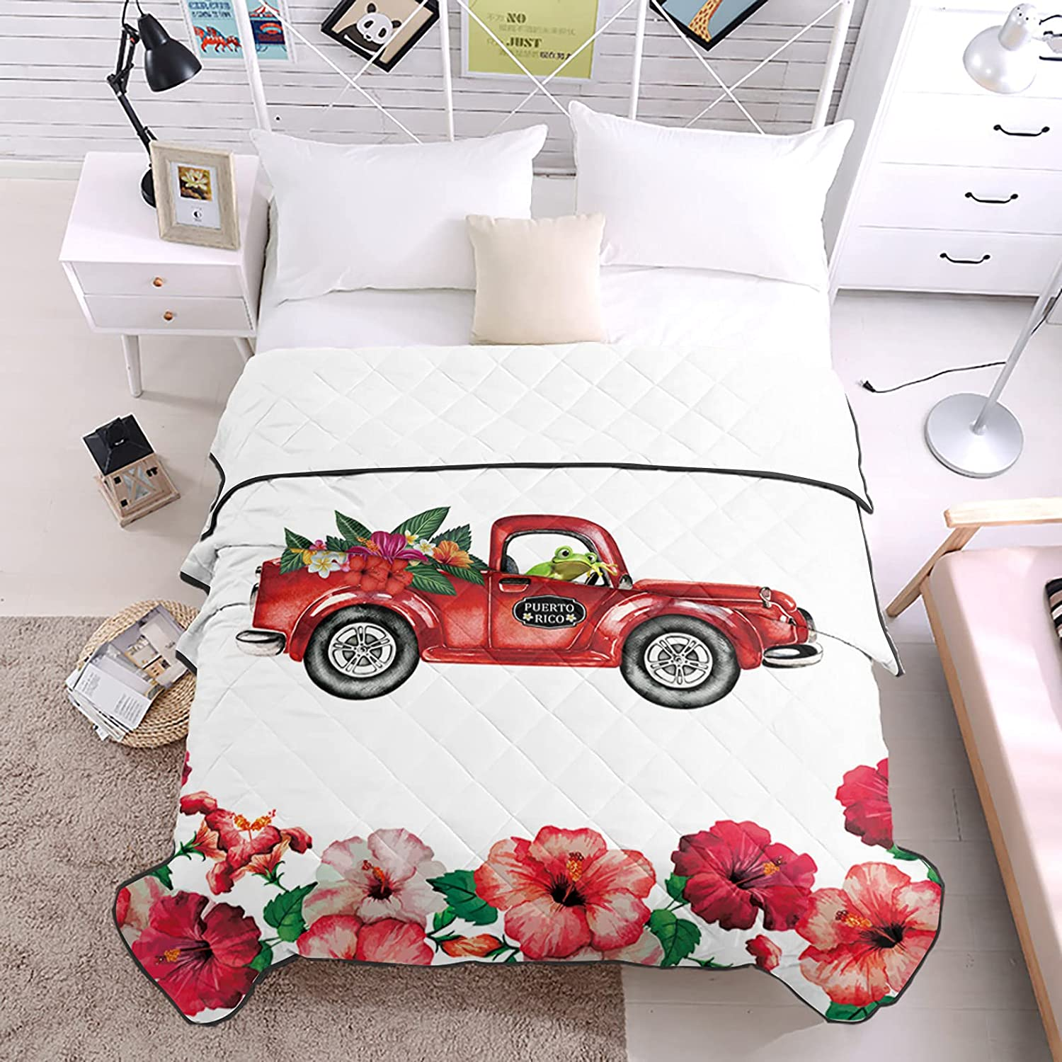 DecorLovee Bedding Duvets Max 74% OFF Freedom Puerto Rico Trucks Drive Frog Outlet sale feature