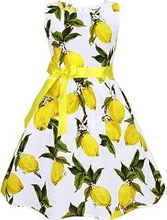 فساتين PrinceSasa للفتيات الصغيرات لحفلات الزفاف والليمون، فساتين الصيف، E6، 7-8 أعوام (مقاس 140)