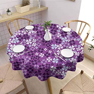Dinning Tabletop Decoration Round Tablecloth Flower,Lilac Flowers Blossoms in Spring Romantic Stylish Meadow Happy Fun Countryside,Purple White Wedding Patio Dining Dorm D42