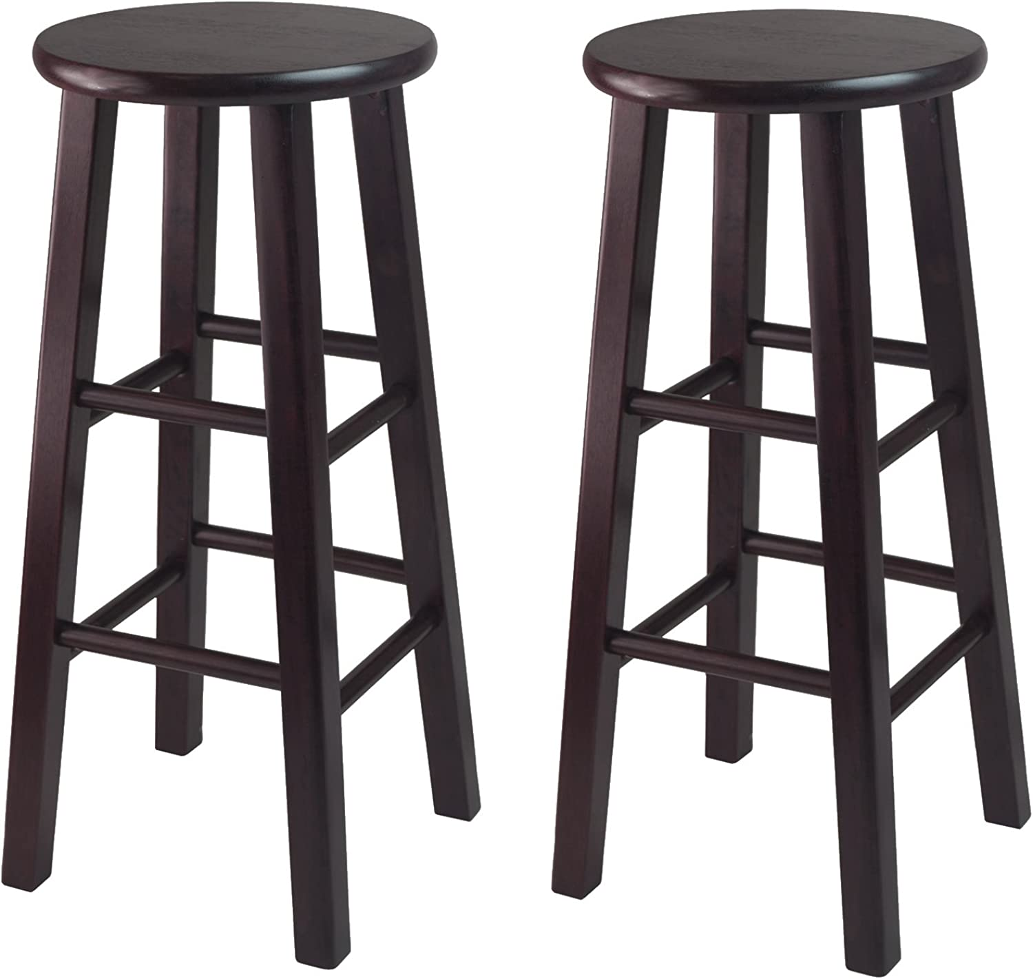 Winsome Set of 2 Solid Wood 30  Bar Stool with Square Legs - Espresso
