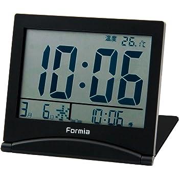 FORMIA 目覚まし時計 デジタル 折りたたみ トラベルクロック ブラック HT-006