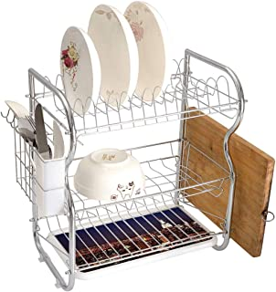 Stainless Steel 3-Tier Dish Drainer Rack New York Kitchen Drying Drip Tray Cutlery Holder New York at Night Empire Building at Northeastern Most Crowded Town USA Photo,Orange Blue,Storage Space Saver