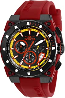 Invicta Men's S1 Rally Stainless Steel Quartz Watch with Silicone Strap, Red, 22 (Model: 27344)