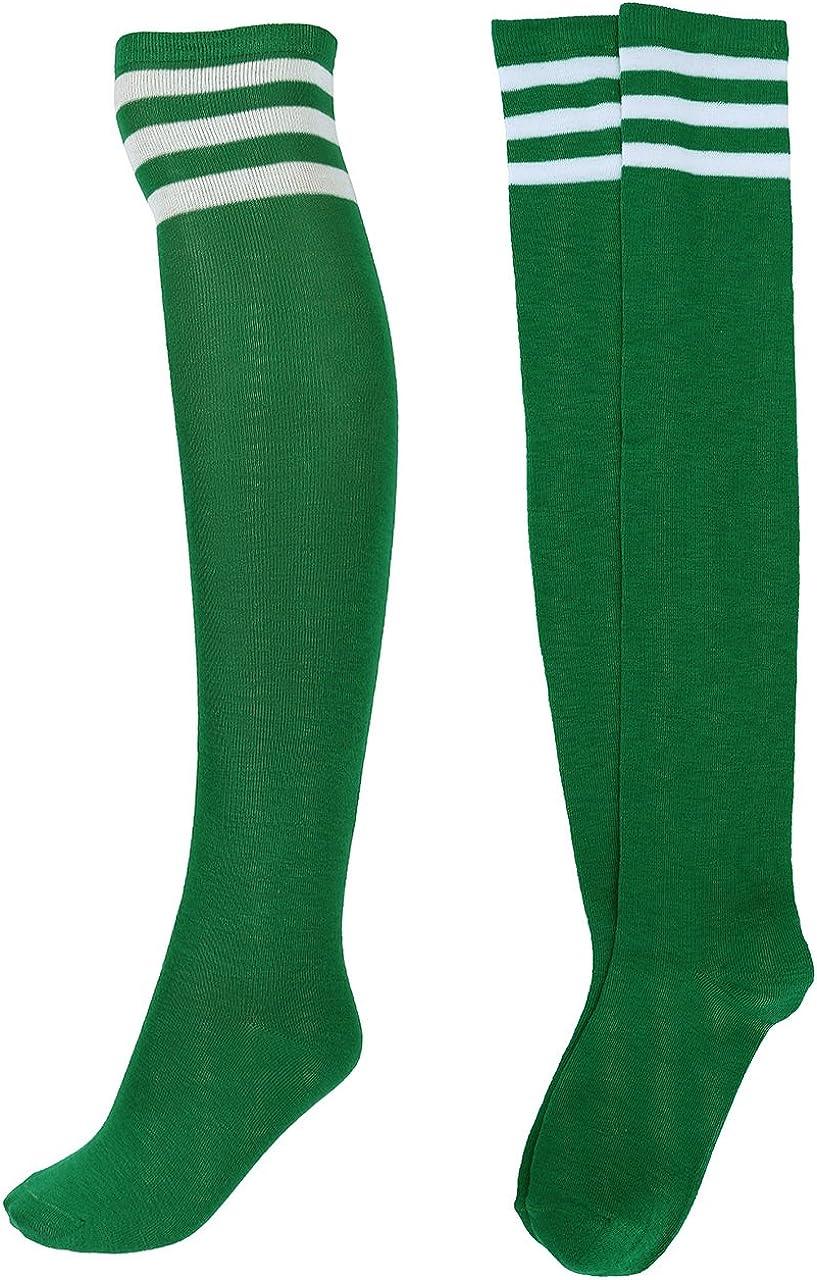 Ayliss Women High Knee Stockings Thin Over the Knee Stripes Tube Socks Long Leg Warmer Casual Athlete Cosplay