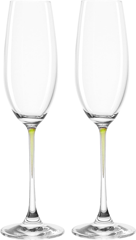 現品 送料無料 激安 お買い得 キ゛フト Leonardo La Perla Flute Champagne Glass Green ounce 7