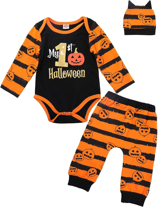 My First Halloween Baby Boy Pumpkin Outfit 3 Pcs Pants Set