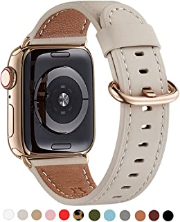 WFEAGL Compatible iWatch Band 42mm 44mm, Top Grain Leather Band with Gold Adapter (The Same as Series 5/4 with Gold Stainless Steel Case in Color) for Series 5/4/3/2/1(Ivory White Band+Gold Adapter)