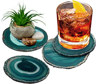 """Agate Coasters Cup Mat Gemstone Geode Decor Dyed Slices with Rubber Bumper Set of 4 by Amoystone 3-3.5"""" Teal"""