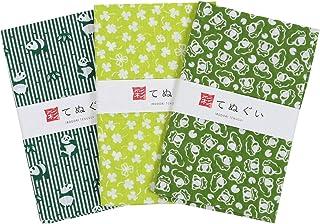 彩(irodori) 小紋手ぬぐい 緑セット 切りっぱなし 3枚組 33×90cm