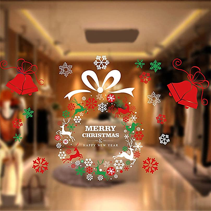 拘束する比較的許されるクリスマス飾り 雪の結晶 鈴トナカイ サンタ はがせるウォールステッカー クリスマス オーナメント メリークリスマス 静電気の力で吸着 再利用可能 シール装飾 50x70CM