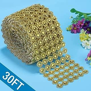 Bling Rhinestone Diamond Ribbon, Bling Wrap Gold Flower Mesh Ribbon for Event Decorations, Wedding Cake, Bridal & Party Decorations Acrylic Bling Rhinestone Roll (1 Roll, 6 Rows,30 Feet)-Gold