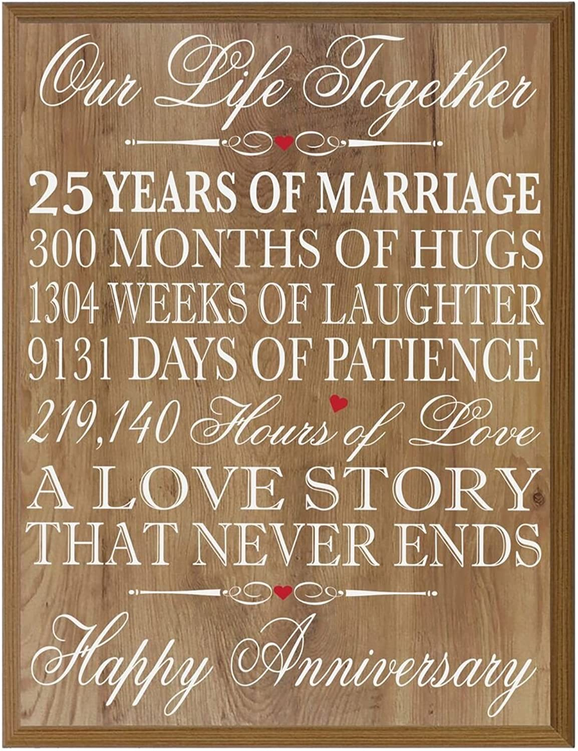 LifeSong Milestones 25th Wedding Anniversary Wall Plaque Gifts for Couple, 25th for Her,25th Wedding for Him 12  W X 15  H Wall Plaque (Pine)