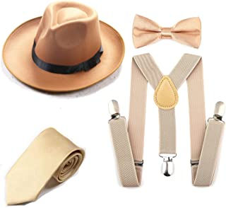 Men's Roaring 1920s Set Manhattan Fedora Hat,Y-Back Suspenders & Pre Tied Bow Tie, Gangster Tie & Fake Mustache