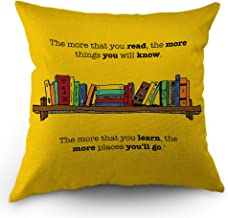 Moslion Book Pillows Decorative Throw Pillow Cover Motivational Quote The More You Read Learn, The More You Know Go Pillow...