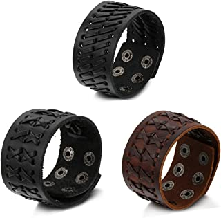 Aroncent 3pcs Braided Mens Wide Leather Bracelet Wristband Bangle with Snap Buttons - 2 Black 1 Brown