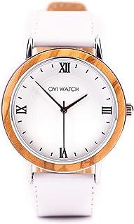Blanco Reloj Mujer, Ovi Watch Reloj Analógico Cuarzo Japonés con Blanco Correa Piel, Caja para Relojes de Madera, 40 mm de...