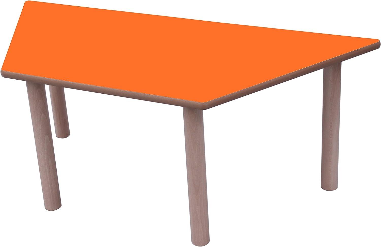 Mobeduc Trapez–Kindertisch, 120x 60cm, Holz 120 x 60 cm, Größe 2 Haya y Orange