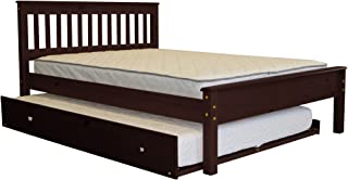 Bedz King Mission Style Full Bed with a Full Trundle, Cappuccino