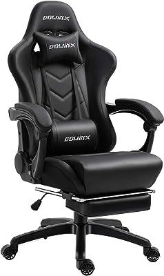 Dowinx「新生活応援クーポン」オフィスチェア/ゲーミングチェア/パソコンチェア/デスクチェア 伸縮可能のフットレスト リクライニングチェア 腰の振動機能付き 腰痛対策 調節可能ランバーサポート LS-668801 (ブラック)