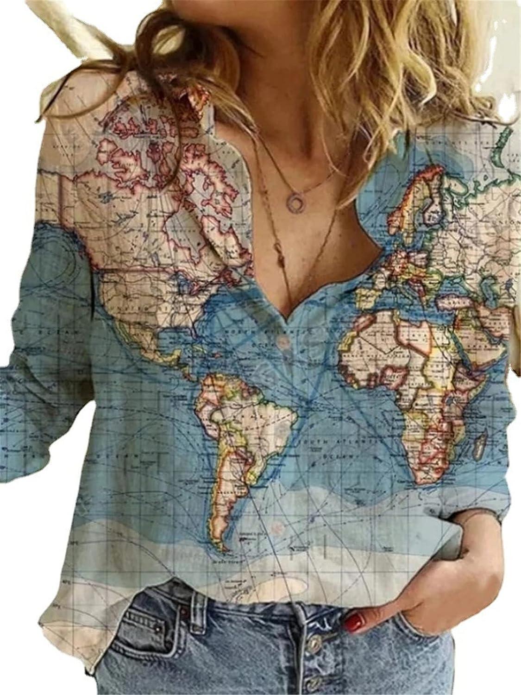 Women's World Map Print Shirt Lapel Button Down Shirt World Map Blouse Loose Top