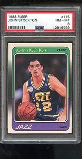 1988-89 Fleer #115 John Stockton ROOKIE RC NM-MT PSA 8 Graded Basketball Card