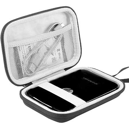 Khanka Dur Cas étui de Voyage Housse Porter pour HP Sprocket Plus/HP Sprocket Select Imprimante Photo Portable (Tout Noir) (Noir/Blanc)