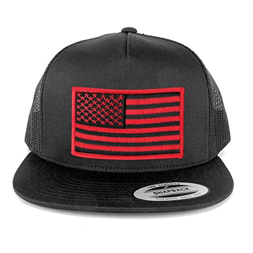 554df170dd5f7 Armycrew Flexfit 5 Panel American Flag Patched Snapback Mesh Charcoal Cap