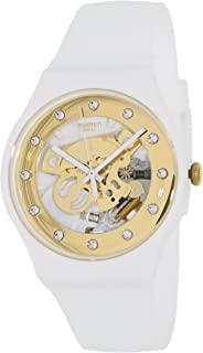 Swatch SUOZ148 sunray glam white rubber strap unisex watch NEW