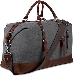 BLUBOON Reisetasche aus Segeltuch für Damen und Herren, Reisetasche, echtes Leder, grau Grau - BLUBOON