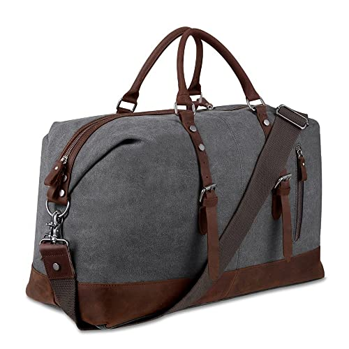 20ceceabe64 Canvas Overnight Bag Travel Duffel Genuine Leather for Men and Women  Weekender Tote (Grey)