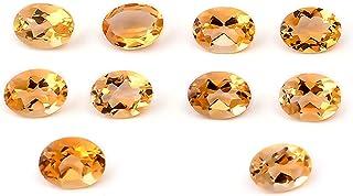 eGemCart Natural Citrino 7x5mm de Forma Oval Facetas Cortar la Piedra Preciosa Floja para la fabricación de Joyas   Calida...