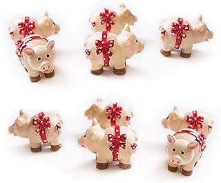 Logbuch-Verlag 10 małych różowych świnek na szczęście talizman świnka na szczęście 3 cm talizman dekoracja stołu Give-Away...