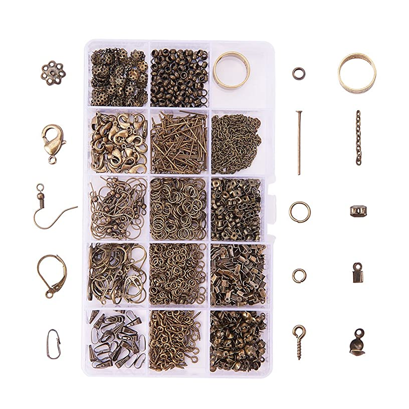 PandaHall About 1642 Pcs Jewelry Finding Kits with Snap Bail,Earring Hook, Ear Wire, Lobster Claw Clasp, Flower Bead Caps, Screw Eye Pin, Head Pin, Jump Ring, Crimp Beads, Cord End, Necklace Chain