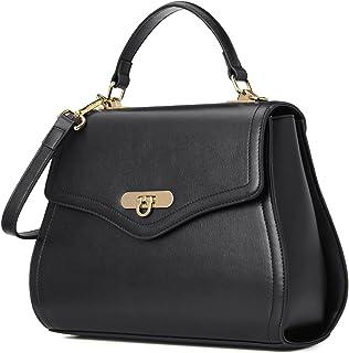Kadell Frauen Leder Handtaschen Shell Form Top Griff Geldbörse mit abnehmbarem Armband Black