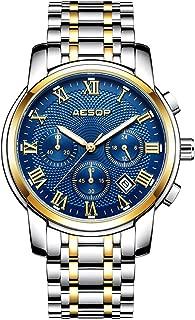 Aesop Watches Mens Full Stainless Steel Quartz Analog Wrist Watch for Men Business Dress Casual Classic Date Watch Waterproof Clock