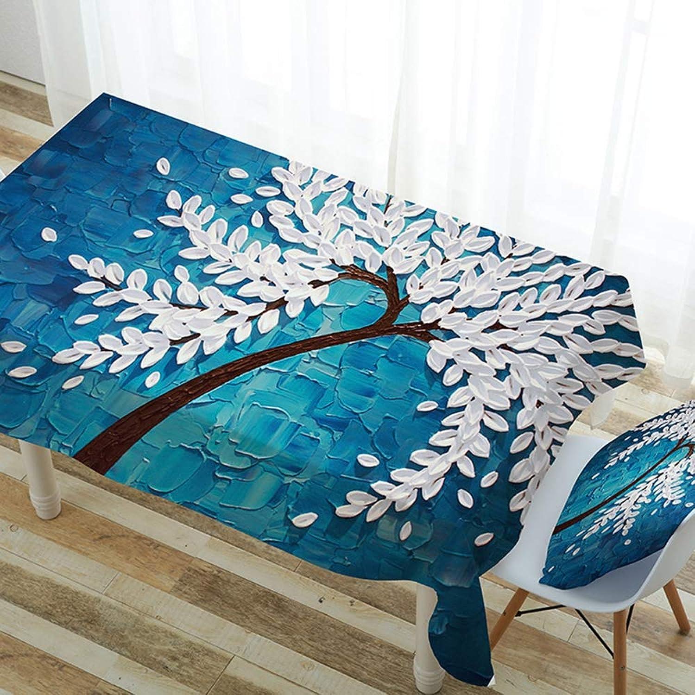 barato ZWNSWD Mantel Poliéster Poliéster Poliéster Poliéster Rectángulo Manteles Azul Patrón Floral Fresco Poliéster Mantel Adecuado para Interior y Exterior,100  140CM  opciones a bajo precio