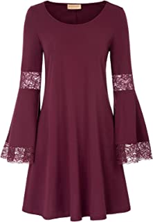 Kate Kasin Casual Fit and Flare Dress Long Bell Sleeve Tunic Loose Aline Dress for Juniors and Women