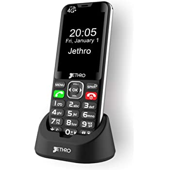 Jethro [SC490] 4G/LTE Unlocked Bar Style Cell Phone for Seniors & Kids, Big Screen and Large Buttons, Hearing Aid Compatible with Charging Dock, FCC Certified.