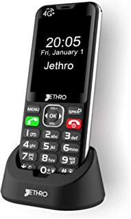 Jethro [SC490] 4G/LTE Unlocked Bar Style Cell Phone for Seniors & Kids, Big Screen and Large Buttons, Hearing Aid Compatib...