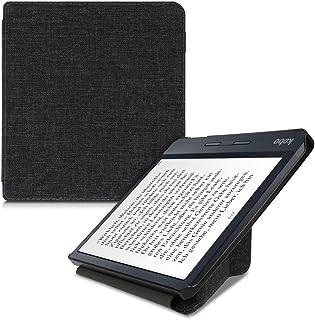kwmobile Origami Case Compatible with Kobo Libra H2O - Slim Fabric Cover - Dark Grey Grey 52460.19