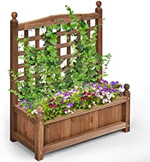 Lucky-gift - Solid Wood Planter Box with Trellis Weather-Resistant Outdoor - Wooden Raised Elevated Garden Bed Planter - Container Outdoor Indoor Decorations - Herb Planter Pots Bed Planter Decor