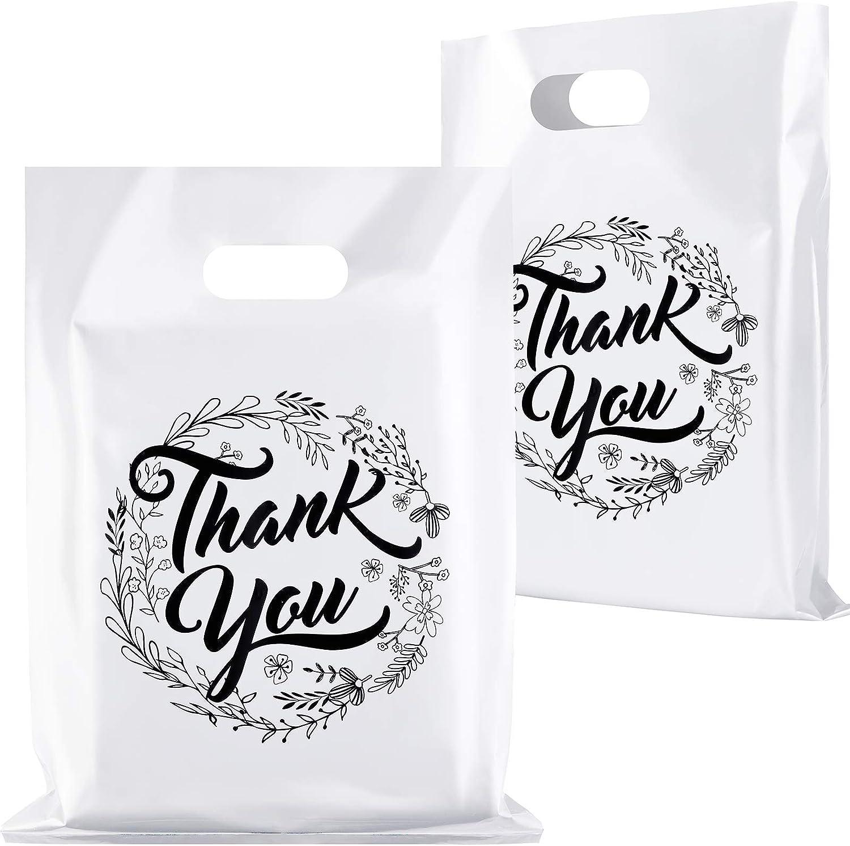 Ruisita 100 Pack Thank You Merchandise Bags Plastic Thank You Ba